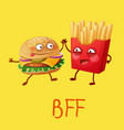 funny fastfood characters best friends forever vector image