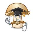 graduation portobello mushroom character cartoon vector image vector image