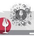 Hand drawn wine glass icons with food icons vector image vector image