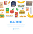 healthy diet and different food vector image vector image