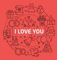 linear love you vector image