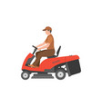 man with red lawnmower vector image vector image
