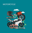 motorcycle accessories flat style design vector image vector image