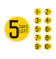 number days left label for sale and promotion vector image vector image