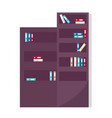 office furniture bookcase with book and literature vector image