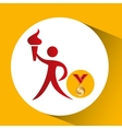 olympic gold medal athlete torch icon vector image vector image
