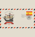 postal envelope with stamp on theme travel vector image vector image