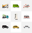 set of 9 editable vehicle flat icons includes vector image vector image