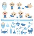 Set of cute baby boy vector image vector image