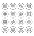 set round line icons web development vector image vector image