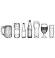 sketch beer beer glasses mugs and bottles vector image