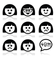 Smiley girl or woman faces avatar icons vector image vector image