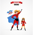 Superhero mother in costume mum with kids vector image vector image