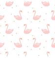 swan pink cute baby simple seamless pattern vector image