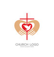 the cross and the hands of christ the heart vector image vector image