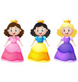 three cute princesses with happy face vector image