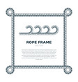 white rope woven border with rope knots square vector image