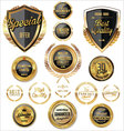 Black and gold quality badges and labels vector image