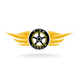 Auto car whell with fire wings logo vector image