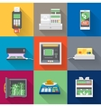 Cash machines icons set in flat style vector image