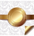 light floral background with gold ribbon and vector image
