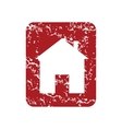 Red grunge building logo vector image