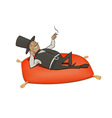 rich man relaxation vector image