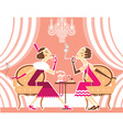 flapper girls talking and smoking cigarettes vector image