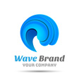 Sea Water wave icon Volume Logo Colorful 3d Design vector image