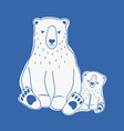 angry mother and sad baby polar bears hand drawn vector image