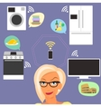 Blond woman thinking about smart gadgets at home vector image