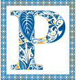 Blue letter P vector image vector image