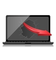 Broken Black Laptop with red arrow vector image