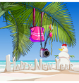 cartoon greeting happy new year on a tropical vector image vector image