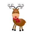 christmas cute reindeer scarf standing animal vector image vector image