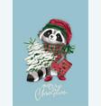 christmas woodland cute forest cartoon raccoon vector image vector image