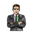 comic man business with suit tie design vector image vector image