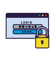 computer window with password and padlock isolated vector image vector image