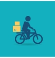 courier rides a bicycle icon vector image
