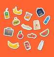 cut-out food and bags vector image