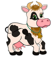 cute cartoon cow isolated on white vector image vector image