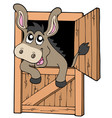 cute donkey in stable vector image