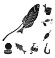 fishing and rest black icons in set collection for vector image