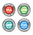 four product badges made in usa gmo gmp fda vector image vector image