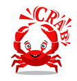 Funny red crab cartoon with text for food flavor vector image vector image