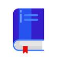 icon school book with bookmark in flat style vector image