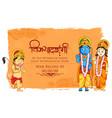 lord rama sita and hanuman in dussehra poster vector image vector image