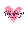 makeup studio logo stroke pink heart vector image vector image