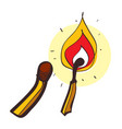 matches with fire colored in hand drawing style vector image vector image