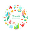 mermaid banner template cute and aquatic nature vector image